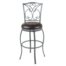 Columbia Swivel Seat Bar Stool with Ash Gray Finished Metal Frame, Detailed Scrolling and Chocolate Faux Leather Upholstery, 30-Inch Seat Height