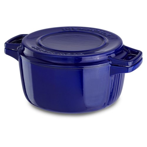 Professional Cast Iron 4-Quart Casserole Fiesta Blue