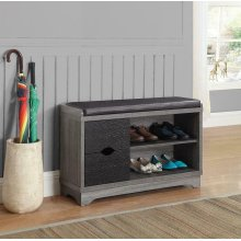 Rustic Distressed Grey Shoe Cabinet
