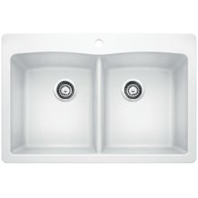 Blanco Diamond Equal Double Bowl With Ledge - White