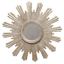Champagne Silver Leaf Starburst Mirror W. Antique Mirror Center.