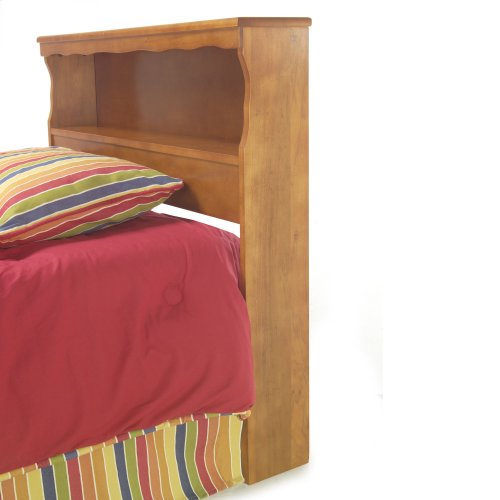Barrister Wooden Headboard Panel with Flat Top Surface and Bookcase, Bayport Maple Finish, Full