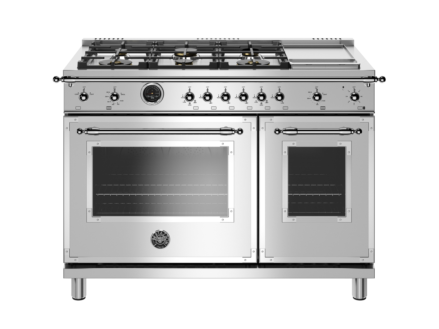 Bertazzoni48 Inch Dual Fuel Range, 6 Brass Burners And Griddle, Electric Self Clean Oven Stainless Steel