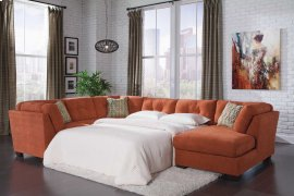 Delta City 3-Pc Sectional Sofa w/ Armless Full Sleeper and RAF Corner Chaise - Rust Collection