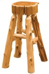 """Cedar Slab Barstool - 30"""" Seat Height - with Tenoned Leg Rests"""