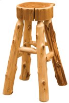 "Cedar Slab Counter Stool - 24"" Seat Height - with Tenoned Leg Rests Product Image"