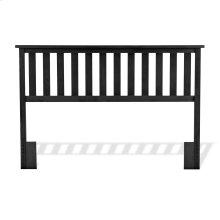 Belmont Wooden Headboard Panel with Slatted Grill Design, Black Finish, Full / Queen