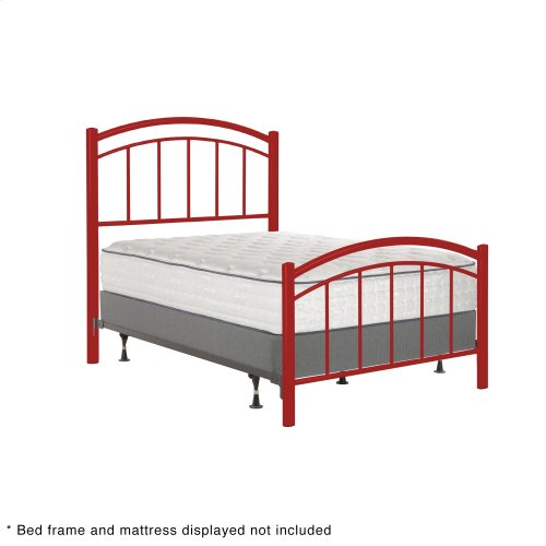 Rylan Fashion Kids Metal Headboard and Footboard Bed Panels with Gently Arced Top Rails and Vertical Spindles, Tomato Red Finish, Full