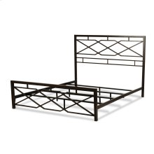Alpine Snap Bed with Geometric Panel Design and Folding Metal Side Rails, Rustic Pewter Finish, Queen