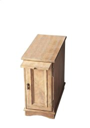 Designed to snuggle into a small space beside a favorite chair, this chairside chest provides a lot of convenience with pull-out tray for beverages and snacks and ample storage space behind the door with one adjustable shelf. Crafted from poplar hardwood Product Image