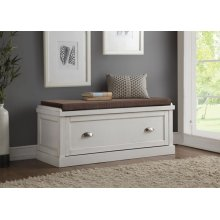 PURE WHITE BENCH W/STORAGE