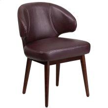 Burgundy Leather Side Reception Chair with Walnut Legs