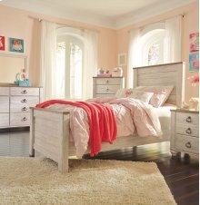 Twin Panel Bedroom Group: Twin Bed, Nightstand, Dresser & Mirror