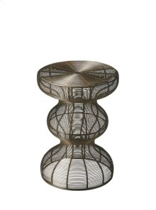 This triple-decker accent table handcrafted in lacy lingerie iron swirling around a sinuous frame is sure to create a buzz. It's resplendent in a black metal finish.