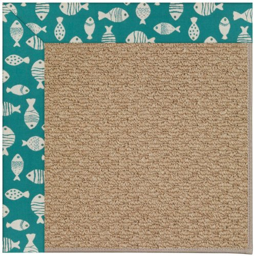 Creative Concepts-Raffia Go Fish Turquoise Machine Tufted Rugs