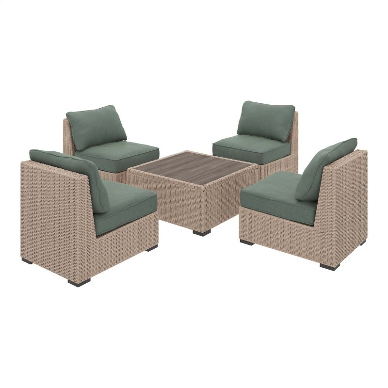 Silent Brook Beige 5 Piece Patio Set