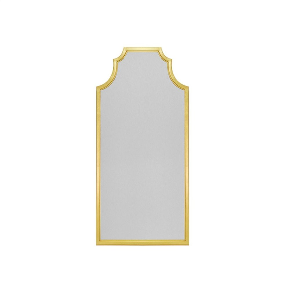 Pagoda Style Floor Mirror With Gold Leaf Frame