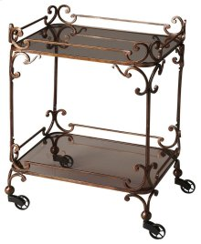 """Victorian steampunk serving cart, bronzed finished wrought iron adorns this serving cart. Featuring smoked tempered glass and """"pulley style castor feet. This serving cart will be the hit of any entertaining situation, it ahs neat and attractive appearance"""