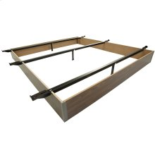 "Pedestal K-19 Bed Base with 7-1/2"" Walnut Laminate Wood Frame and Center Cross Slat Support, King"