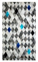 Anchor your living room seating group or define space in the den with this lovely hair on hide leather rug, featuring a monochromatic gray harlequin pattern with pops of ocean and sapphire blue. Variations in shades and pile direction are a common charact Product Image