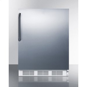SummitBuilt-in Undercounter Refrigerator-freezer for Residential Use, Cycle Defrost With A Stainless Steel Wrapped Door, Towel Bar Handle, and White Cabinet