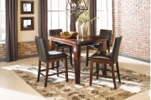 Larchmont - Burnished Dark Brown 5 Piece Dining Room Set