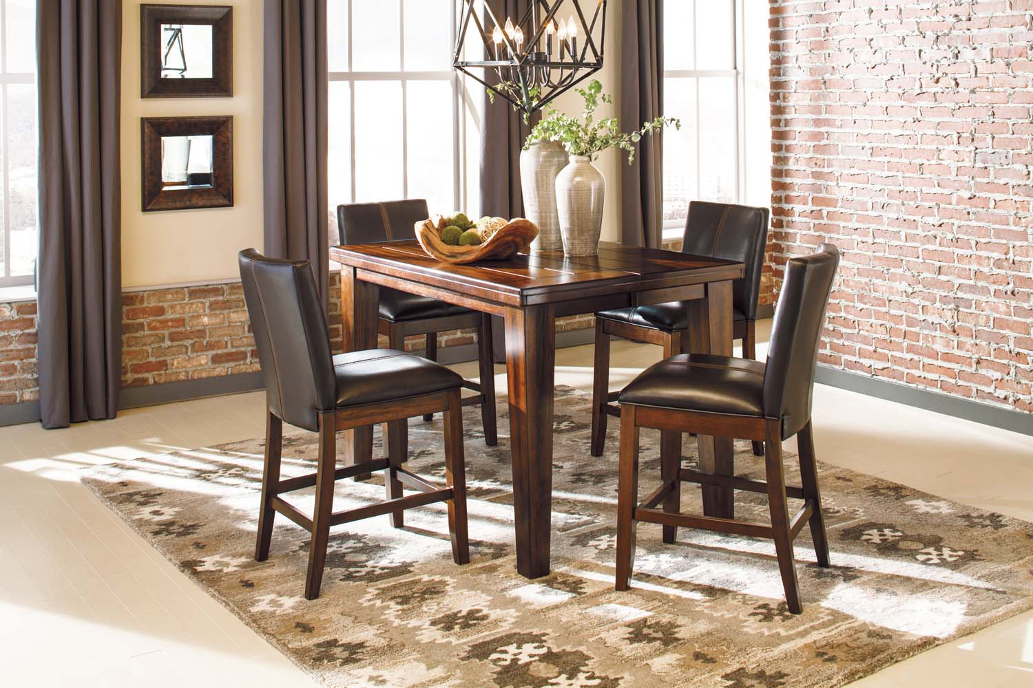 Signature Design By Ashley Larchmont   Burnished Dark Brown 5 Piece Dining  Room Set