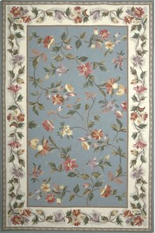 Colonial 1728 Slate Blue /ivory Floral 2' X 8' Runner