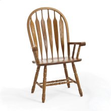 Classic Oak Detailed Arrow Arm Chair