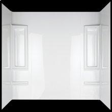 High Gloss White Bathtub Wall Set - 5 Piece