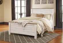 """Whitewash Driftwood"" Panel Bed (Queen HB,FB.Rails)"