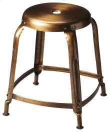 This bronze finished iron stool has a simple vintage design that looks amazing in modern spaces. It is sturdy, yet lightweight with a lightly distressed finish that will offer function and beauty to any space.