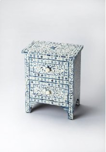 The elegance of the Indian subcontinent and thousands of years of artistisanry provide us with this contemporary two-drawer accent chest. Painstakingly handcrafted from wood solids and wood products, delicate bone inlay veneers, each pattern is hand-form