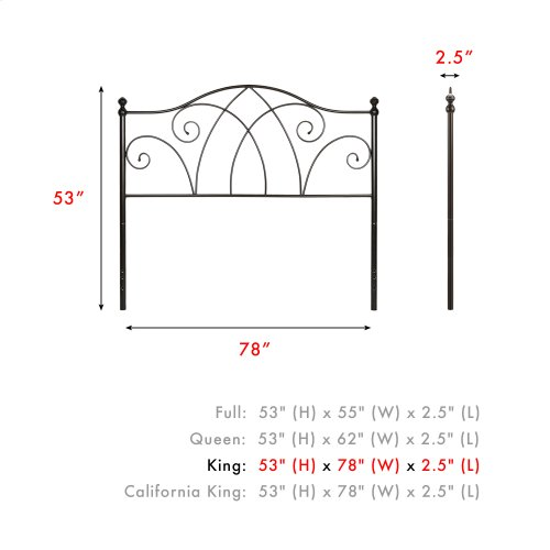 Deland Metal Headboard Panel with Arched Rails and Finial Posts, Brown Sparkle Finish, King