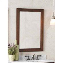"""Transitional 24"""" x 34"""" Solid Wood Framed Bathroom Mirror in Café Walnut"""