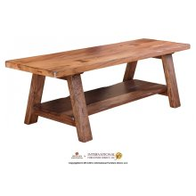 Solid wood bench w/shelf - KD System