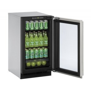 """U-Line2000 Series 18"""" Glass Door Refrigerator With Stainless Frame Finish and Field Reversible Door Swing (115 Volts / 60 Hz)"""