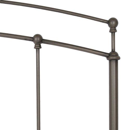 Fenton Metal Headboard Panel with Globe Finials, Black Walnut Finish, Full