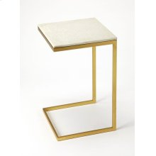 Glamour and minimalism intersect in the design of this modern end table. Elegantly finished in antique gold, its iron base supports a cool white marble top.