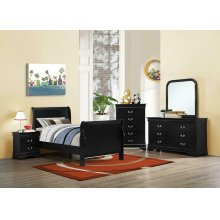 Louis Philippe Traditional Black Sleigh Twin Bed