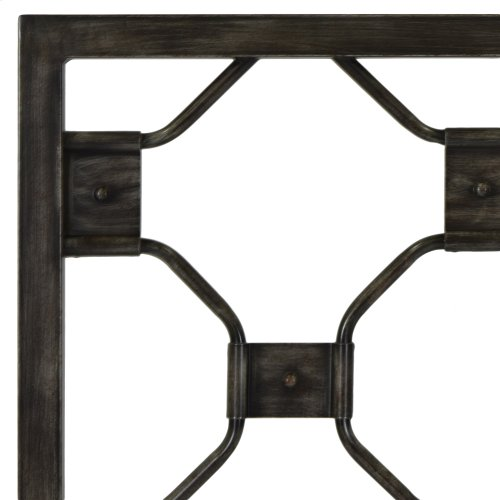 Baxter Complete Metal Bed and Steel Support Frame with Geometric Octagonal Design, Heritage Silver Finish, Queen
