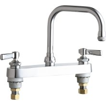 "Deck-mounted manual sink faucet with 8"" fixed centers"