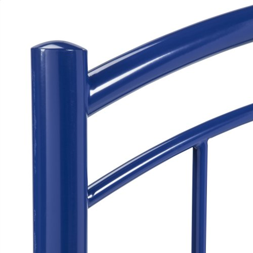 Rylan Fashion Kids Metal Headboard and Footboard Bed Panels with Gently Arced Top Rails and Vertical Spindles, Cadet Blue Finish, Twin