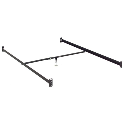 81-Inch 81-1B Black Bed Frame Side Rails with Bolt-On Brackets and Adjustable Center Support for Headboards and Footboards, Full XL / Queen