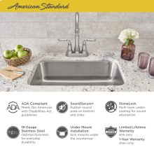 """Portsmouth 23x18"""" ADA Single Bowl Stainless Steel Kitchen Sink  American Standard - Stainless Steel"""