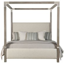King-Sized Palma Upholstered Canopy Bed in Rustic Gray