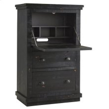 Armoire Desk - Distressed Black Finish