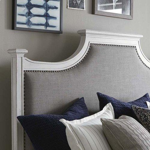 Cal King/Aged Whitestone Bella Upholstered Panel Bed