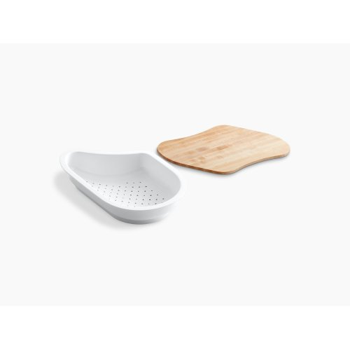 "White 15-7/16"" X 10-17/32"" X 3-1/16"" Colander/cutting Board for 9-1/4"" X 15-3/8"" Bowl"