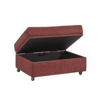 Storage Ottoman - Red Chenille Finish
